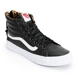 VANS Sk8 Hi Black leather with leopard lining